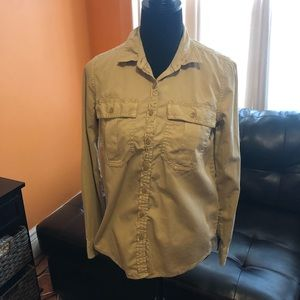 Banana republic khaki tan button down shirt